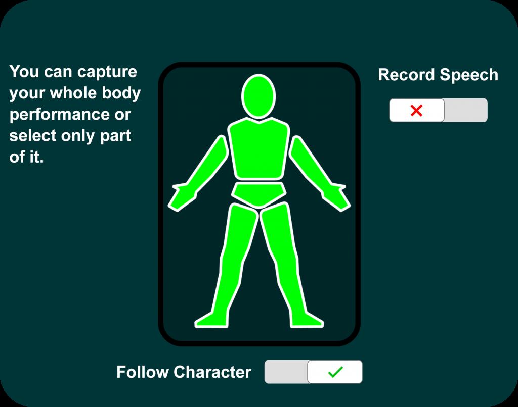 Mocap Set Up - Select body parts to mocap
